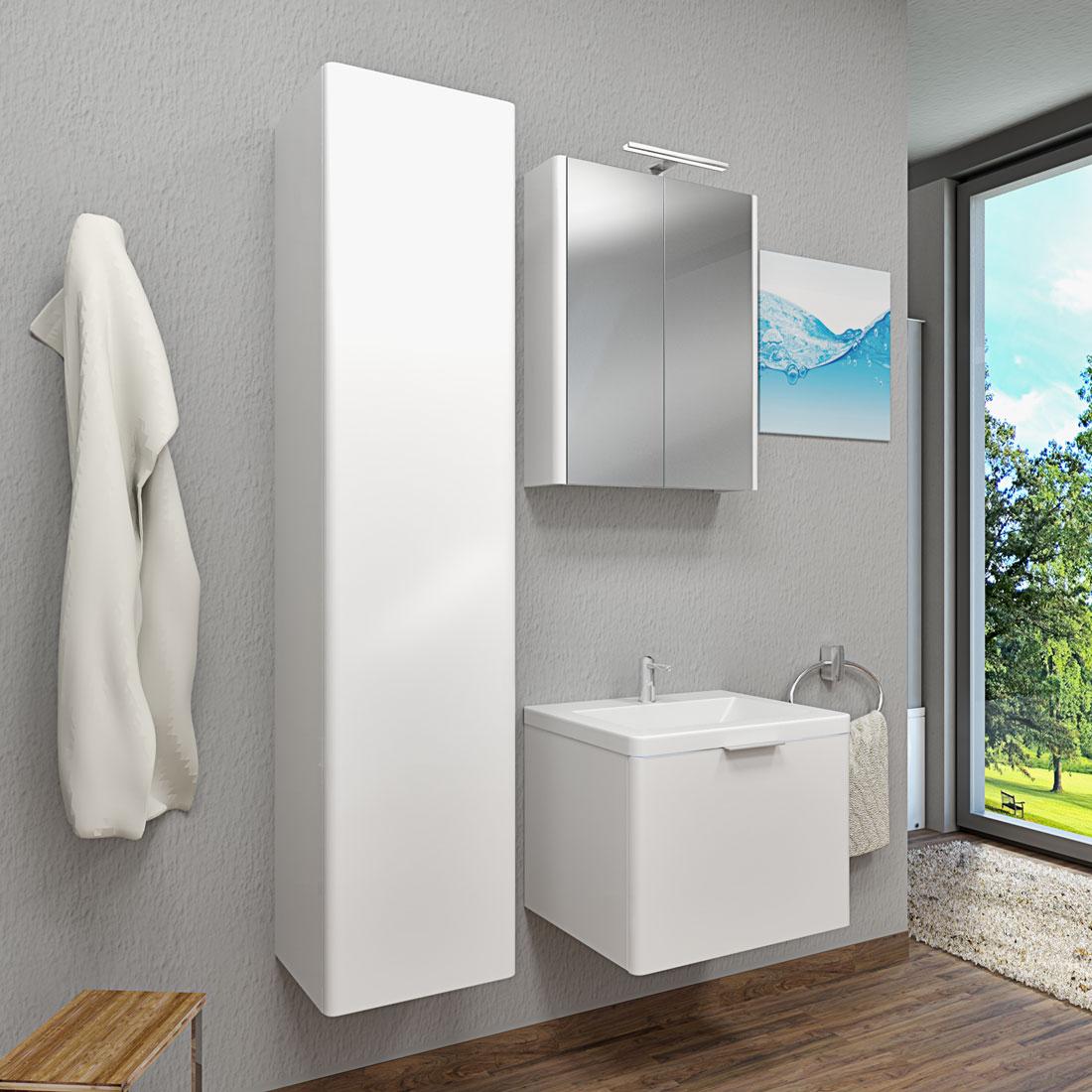 badschrank h ngeschrank hochschrank xl 40x176x36cm curve hochglanz wei. Black Bedroom Furniture Sets. Home Design Ideas
