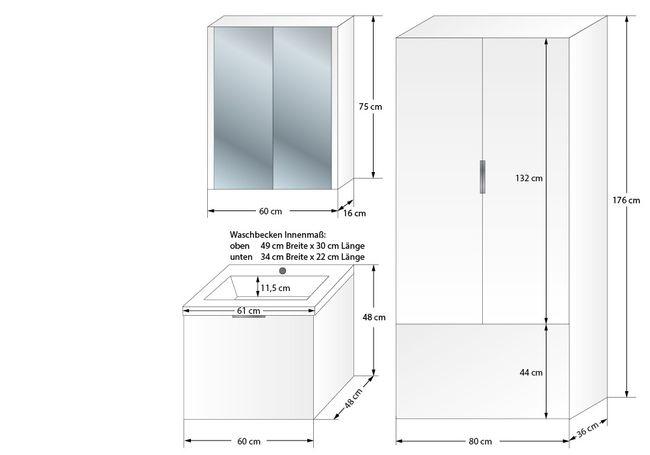 Badschrank, Hängeschrank, Hochschrank XXL 80x176x36cm Curve Hochglanz weiß – Bild 8