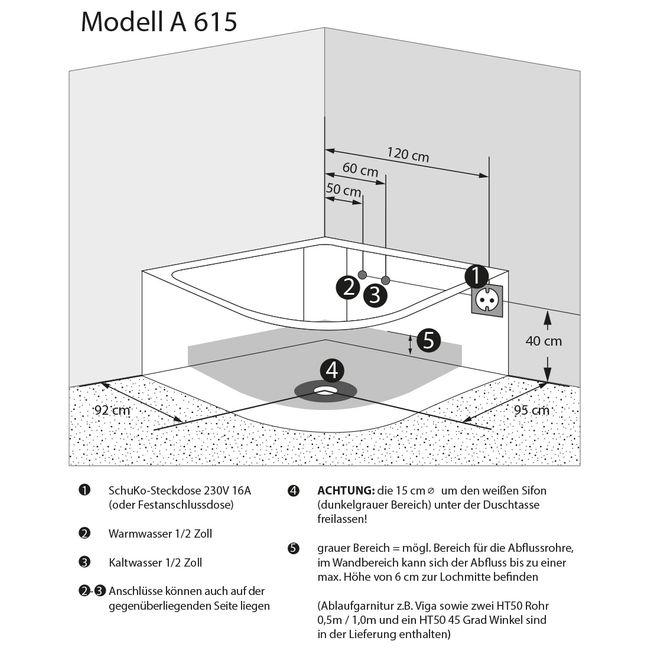 Eckwanne Whirlpool Pool Badewanne A615-ALL Reinigungsfunktion 165x148 – Bild 5