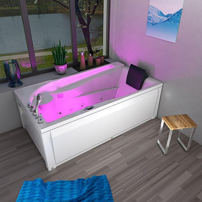 Whirlpool Vollausstattung Pool Badewanne Eckwanne Wanne A611N-C-ALL 180x100 – Bild 14