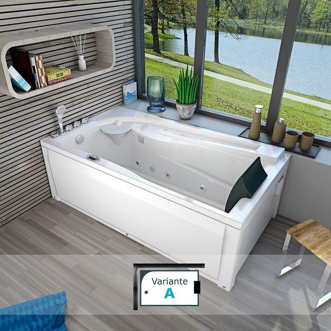Whirlpool Vollausstattung Pool Badewanne Eckwanne Wanne A611N-ALL 100x180 – Bild 9
