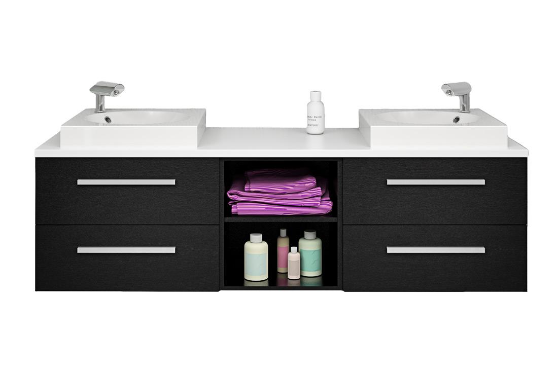 badm bel set city 307 v1 esche schwarz badezimmerm bel waschtisch 160cm. Black Bedroom Furniture Sets. Home Design Ideas