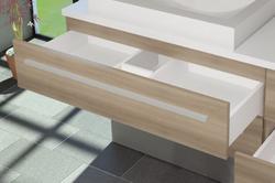 Schublade komplett Waschtisch 100er mit 2 Schubladen Serie City / Farbe Eiche