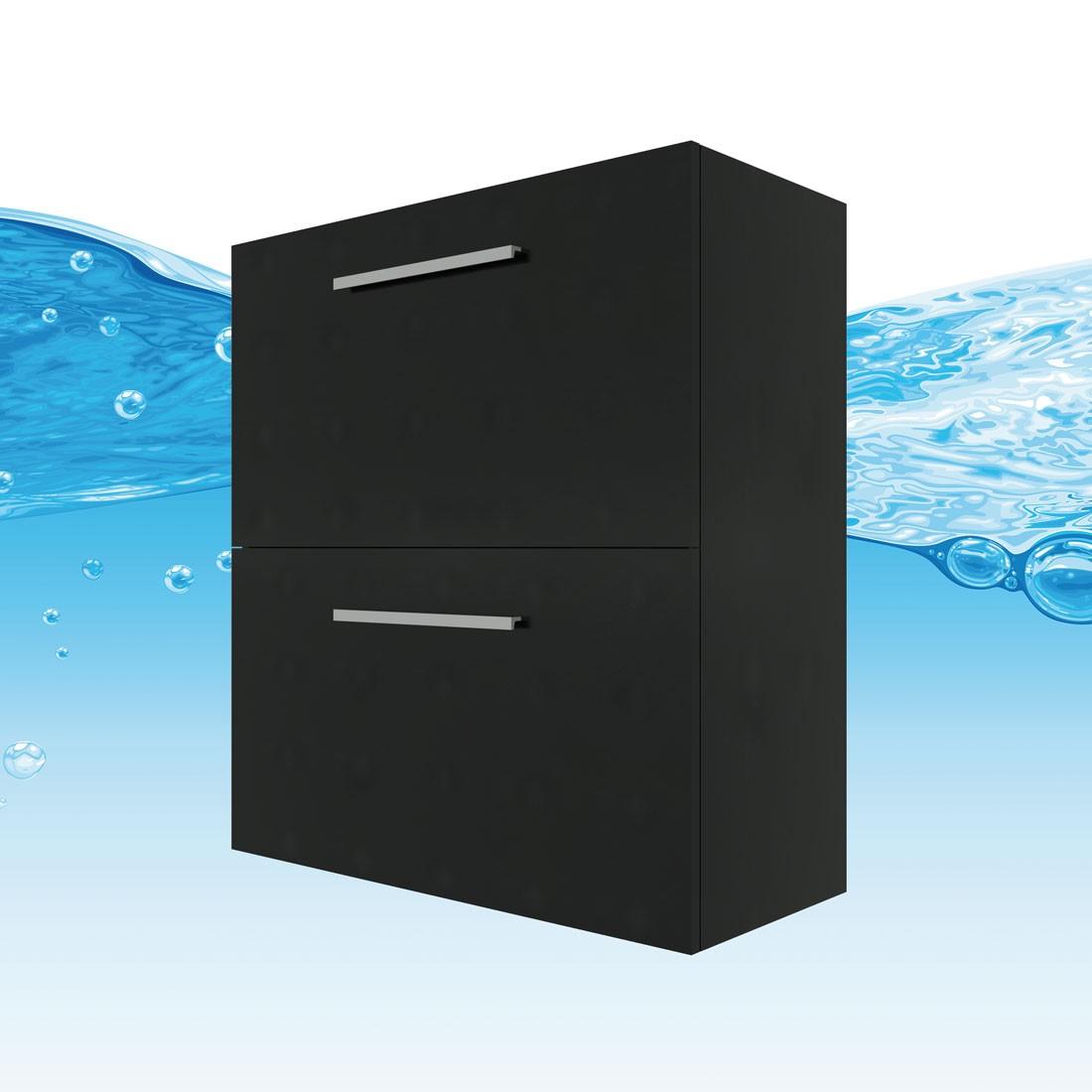 badschrank h ngeschrank 2 schubladen 80x87 5x35cm city esche schwarz. Black Bedroom Furniture Sets. Home Design Ideas