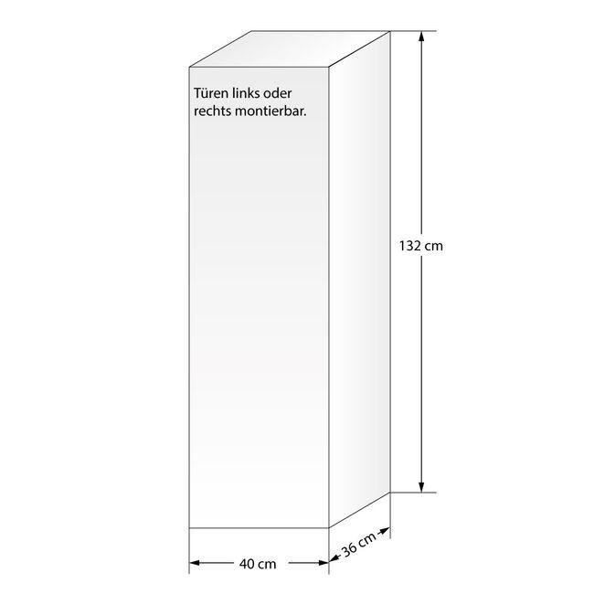 Badschrank, Hängeschrank, Hochschrank L 40x132x36cm Curve Walnuss – Bild 4