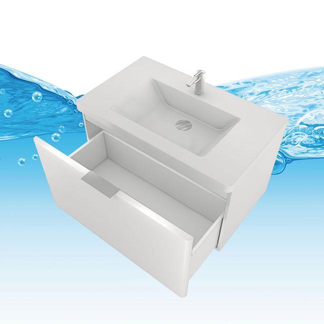 Badmöbel Set Curve 102 V1 MDF weiß, Badezimmermöbel, Waschtisch 80cm – Bild 12
