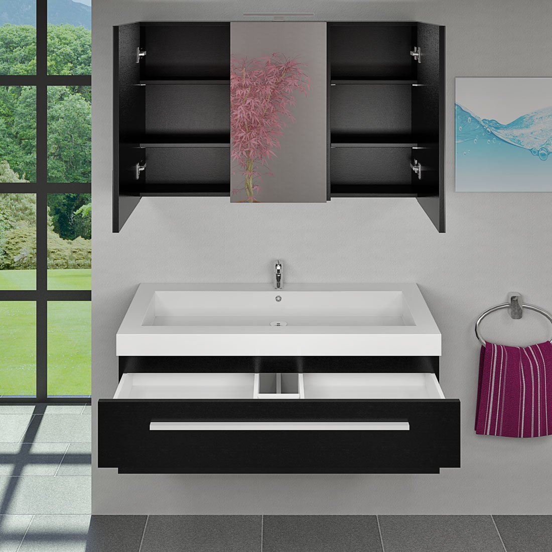 waschtisch mit waschbecken unterschrank city 101 120cm esche schwarz. Black Bedroom Furniture Sets. Home Design Ideas