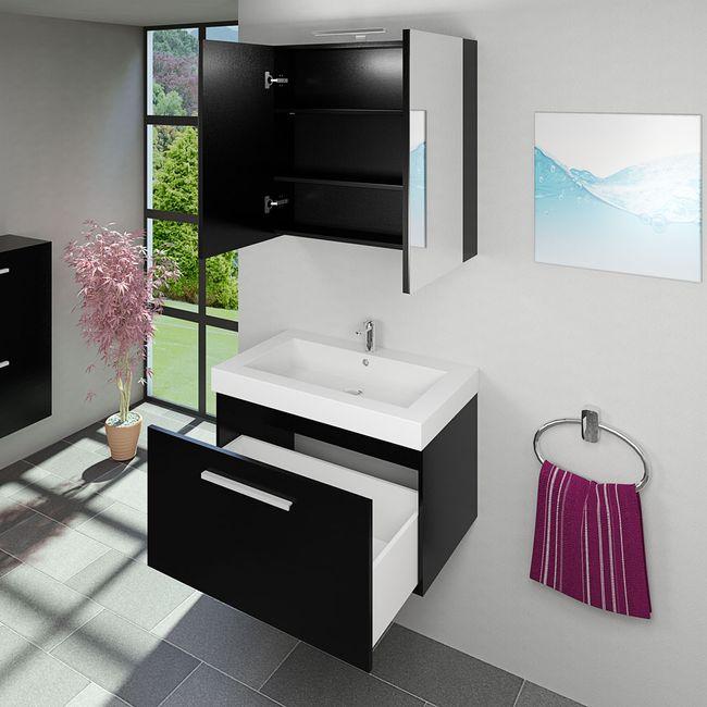 Spiegelschrank Badspiegel Badezimmer Spiegel City 100cm Esche schwarz – Bild 7