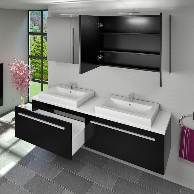 Spiegelschrank Badspiegel Badezimmer Spiegel City 200cm Esche schwarz – Bild 8