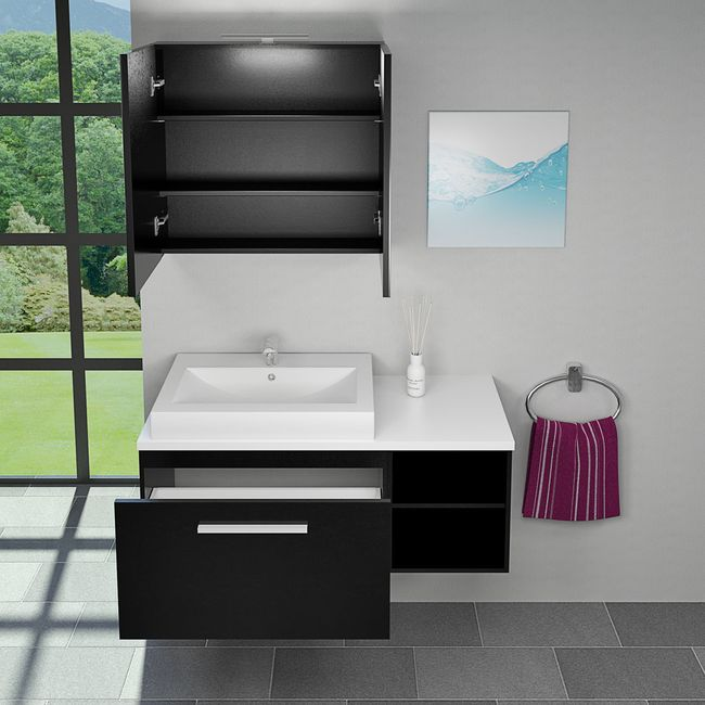 Waschtisch mit Waschbecken, Unterschrank City 203 120cm Esche schwarz – Bild 7
