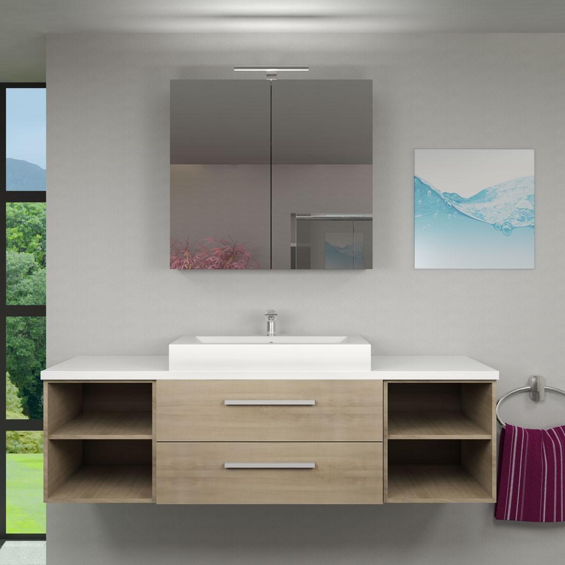 waschtisch mit waschbecken unterschrank city 303 160cm eiche hell. Black Bedroom Furniture Sets. Home Design Ideas