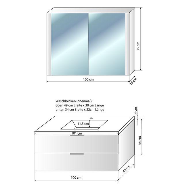 Badmöbel Set Curve 103 V1 MDF Wallnuss, Badezimmermöbel, Waschtisch 100cm – Bild 6