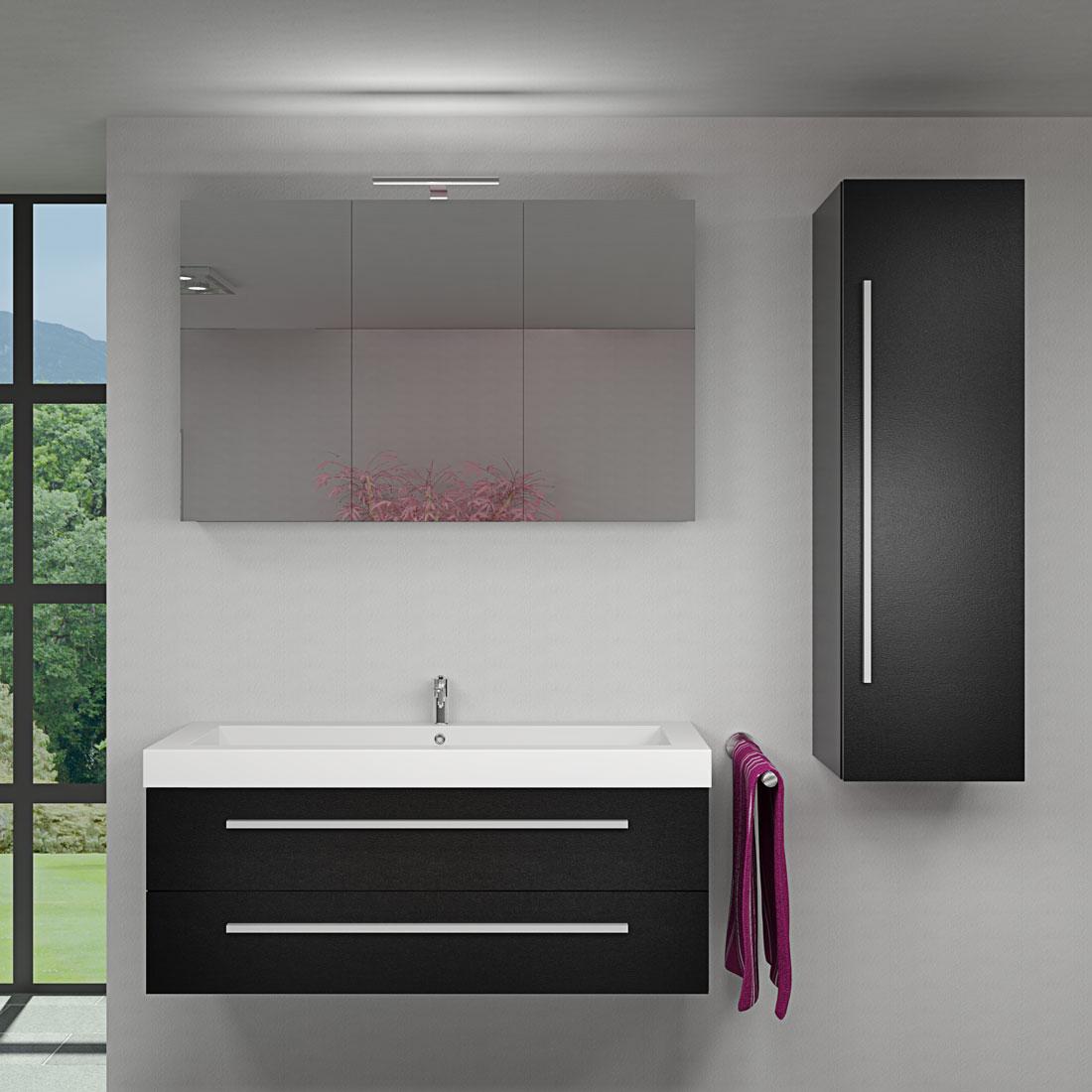 badmobel schwarz, badmöbel set city 101 v3 esche schwarz, badezimmermöbel, waschtisch, Design ideen
