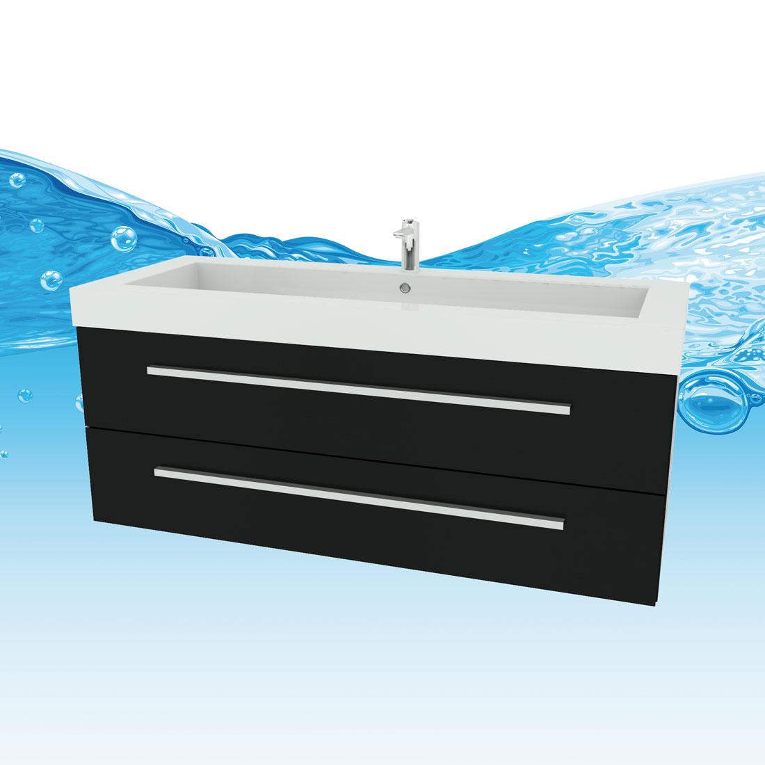 badm bel set city 101 v5 esche schwarz badezimmerm bel waschtisch 120cm. Black Bedroom Furniture Sets. Home Design Ideas