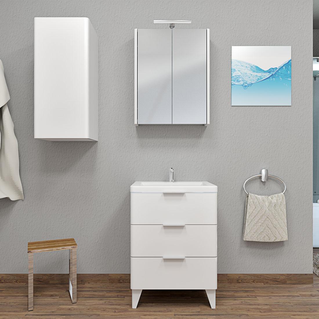 badm bel set curve 106 v2 mdf wei badezimmerm bel waschtisch 60cm. Black Bedroom Furniture Sets. Home Design Ideas