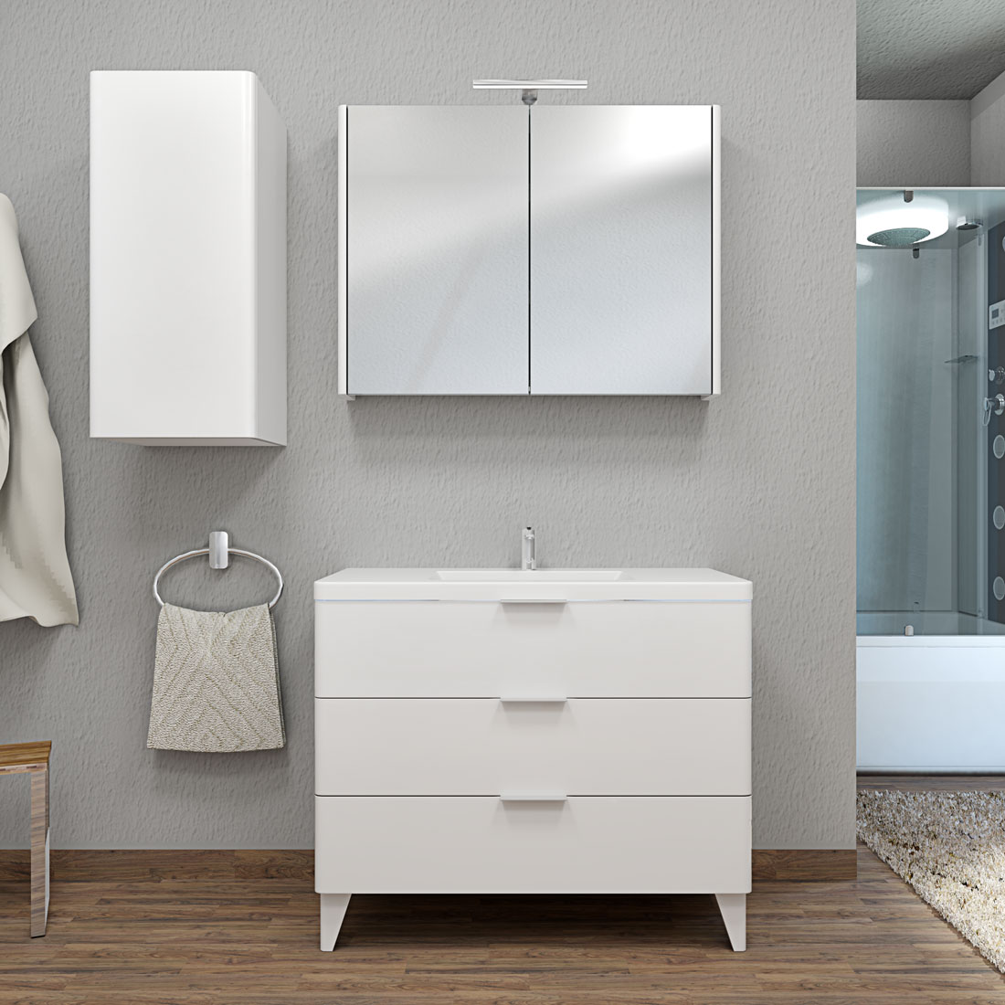 badm bel set curve 106 v2 mdf wei badezimmerm bel waschtisch 100cm. Black Bedroom Furniture Sets. Home Design Ideas