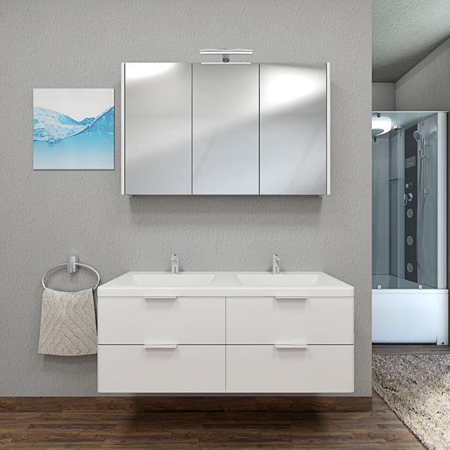 Badmöbel Set Curve 214 V1 MDF weiß, Badezimmermöbel, Waschtisch 120cm – Bild 1