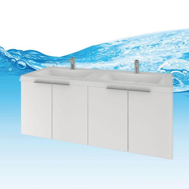 Badmöbel Set Curve 215 V1 MDF weiß, Badezimmermöbel, Waschtisch 120cm – Bild 11