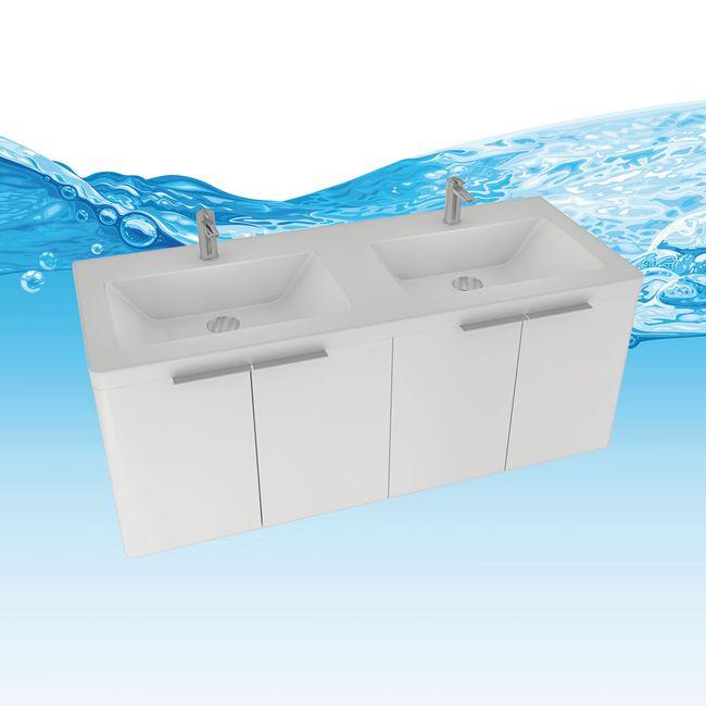 Badmöbel Set Curve 215 V1 MDF weiß, Badezimmermöbel, Waschtisch 120cm – Bild 13