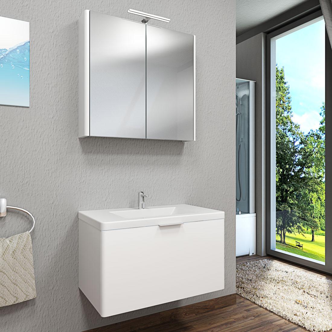 spiegelschrank badspiegel spiegel curve 80cm mdf. Black Bedroom Furniture Sets. Home Design Ideas