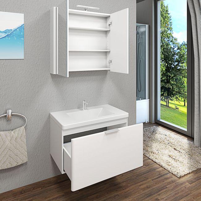 Spiegelschrank, Badspiegel, Spiegel Curve 80cm MDF Hochglanz weiß – Bild 8