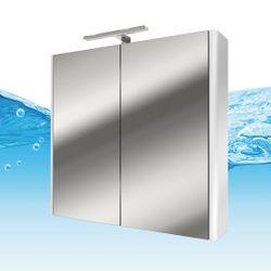 Spiegelschrank, Badspiegel, Spiegel Curve 80cm MDF Hochglanz weiß 001