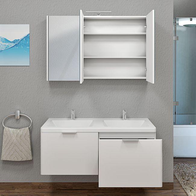 Spiegelschrank, Badspiegel, Spiegel Curve 120cm MDF Hochglanz weiß – Bild 9