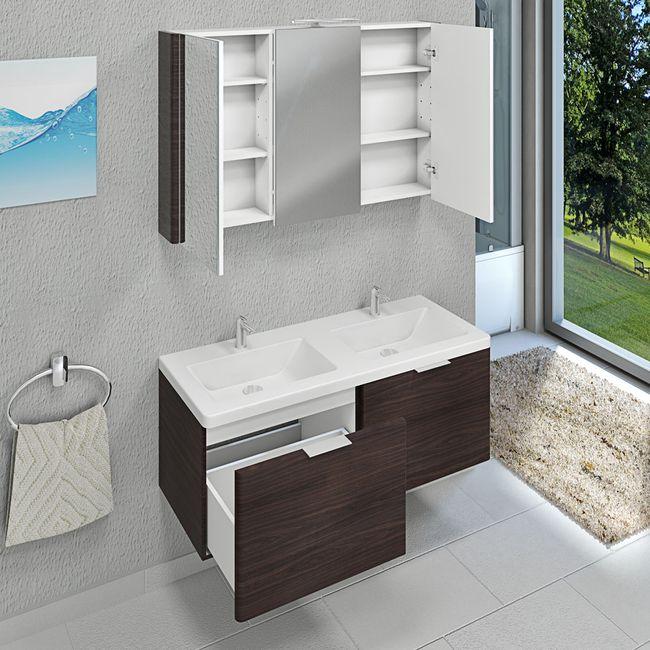 Spiegelschrank, Badspiegel, Spiegel Curve 120cm MDF Walnuss – Bild 10
