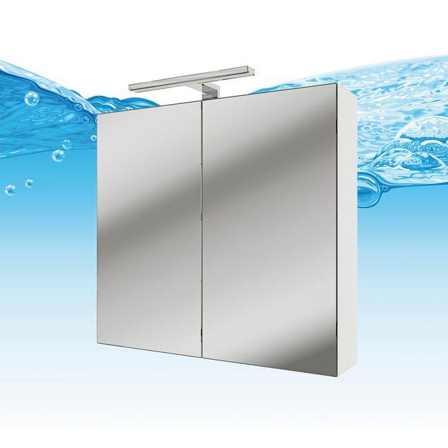 Spiegelschrank, Badspiegel, Badezimmer Spiegel Gently 60cm weiß glänzend – Bild 1
