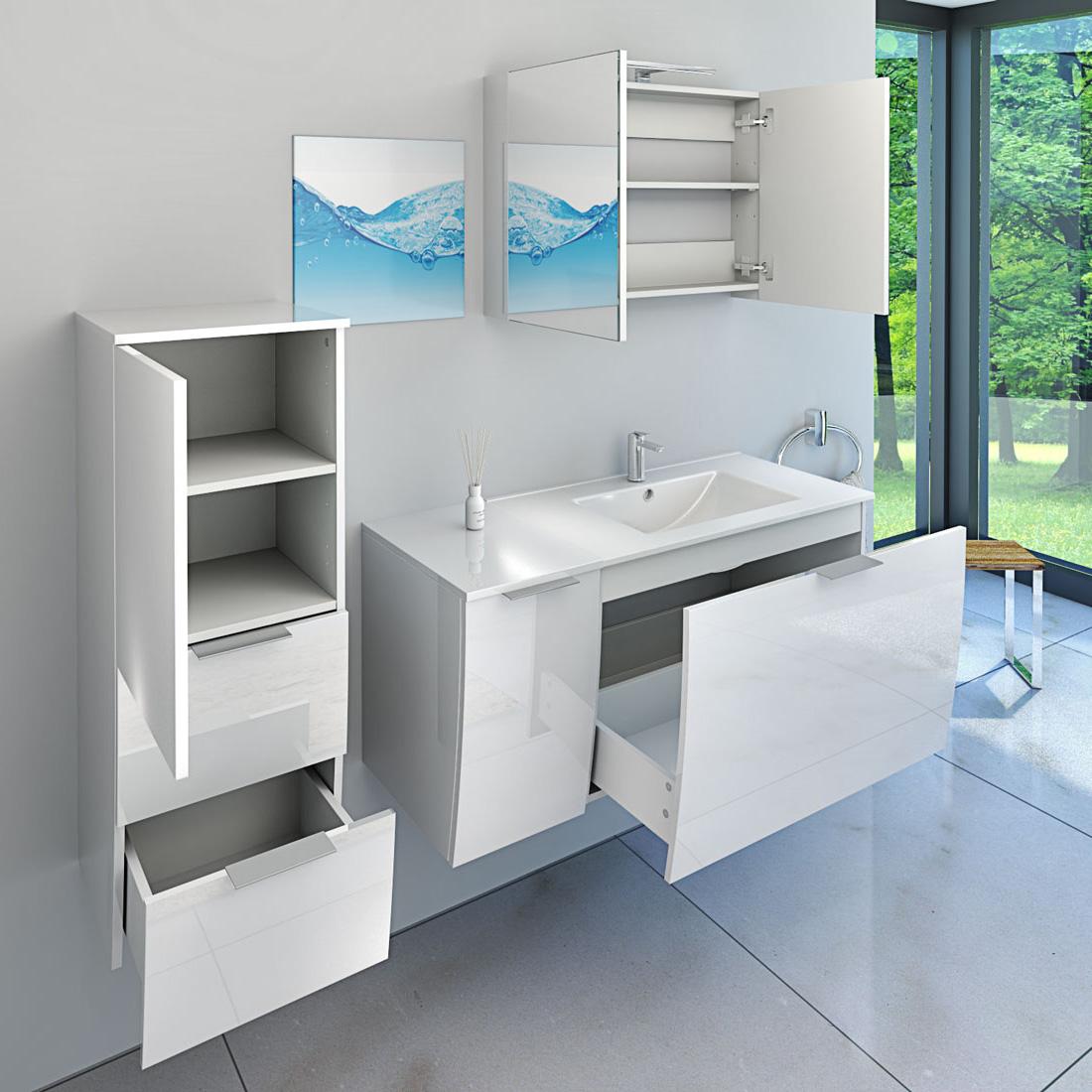 waschtisch mit waschbecken unterschrank gently 1 80cm hochglanz wei. Black Bedroom Furniture Sets. Home Design Ideas