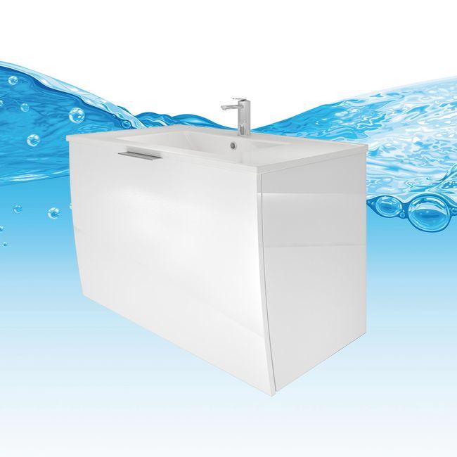 Waschtisch mit Waschbecken, Unterschrank Gently 1 80cm Hochglanz weiß – Bild 1