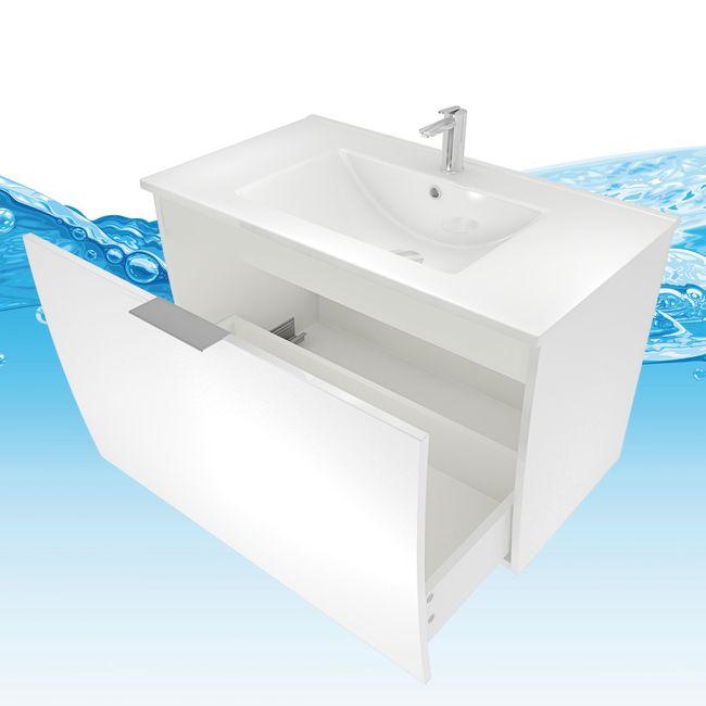Waschtisch mit Waschbecken, Unterschrank Gently 1 80cm Hochglanz weiß – Bild 3