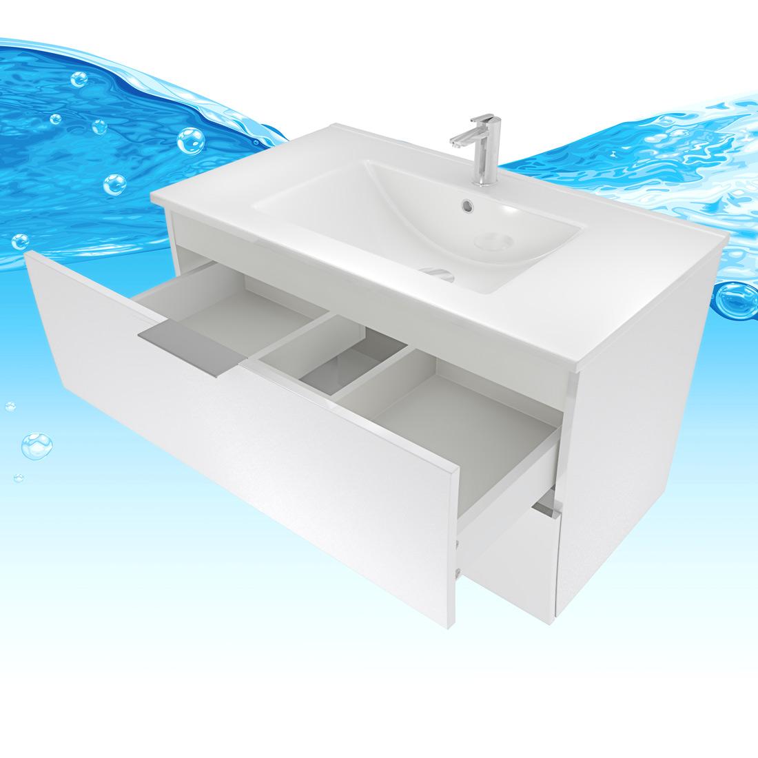 waschtisch mit waschbecken unterschrank gently 2 80cm hochglanz wei. Black Bedroom Furniture Sets. Home Design Ideas