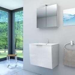 Badmöbel Set Gently 1 V1 Hochglanz weiß, Badezimmermöbel, Waschtisch 60cm