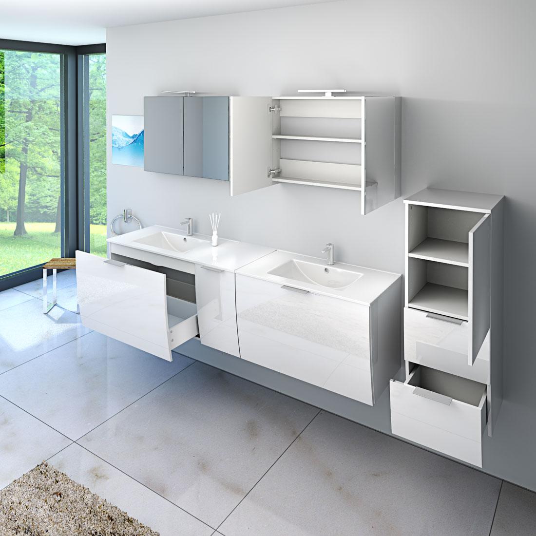 badm bel set gently 1 v1 hochglanz wei badezimmerm bel waschtisch 80cm. Black Bedroom Furniture Sets. Home Design Ideas