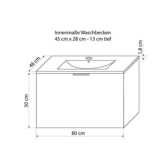 Badmöbel Set Gently 1 V1 Hochglanz weiß, Badezimmermöbel, Waschtisch 80cm – Bild 12