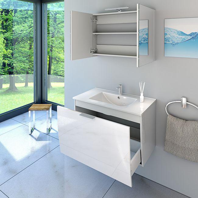 Badmöbel Set Gently 1 V1 Hochglanz weiß, Badezimmermöbel, Waschtisch 80cm – Bild 3