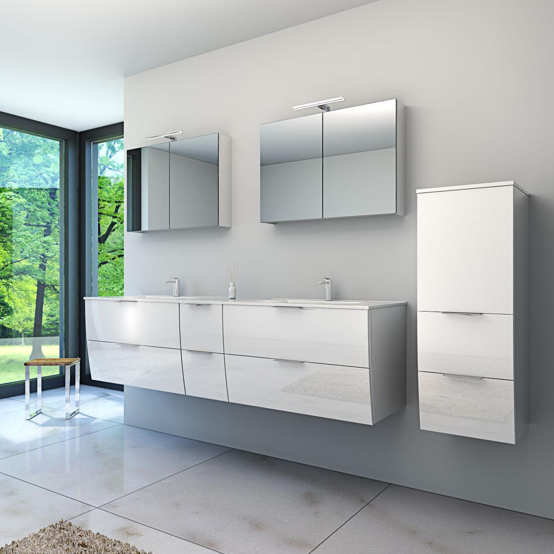 badm bel set gently 2 v1 hochglanz wei badezimmerm bel waschtisch 80cm. Black Bedroom Furniture Sets. Home Design Ideas