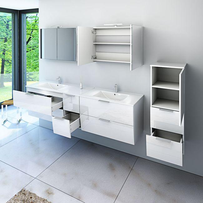 Badmöbel Set Gently 2 V1 Hochglanz weiß, Badezimmermöbel, Waschtisch 80cm – Bild 16