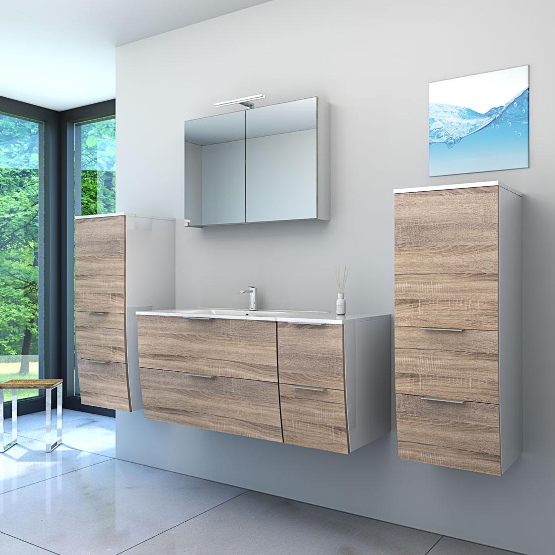 badm bel set gently 2 v1 wei eiche hell badezimmerm bel waschtisch 80cm. Black Bedroom Furniture Sets. Home Design Ideas