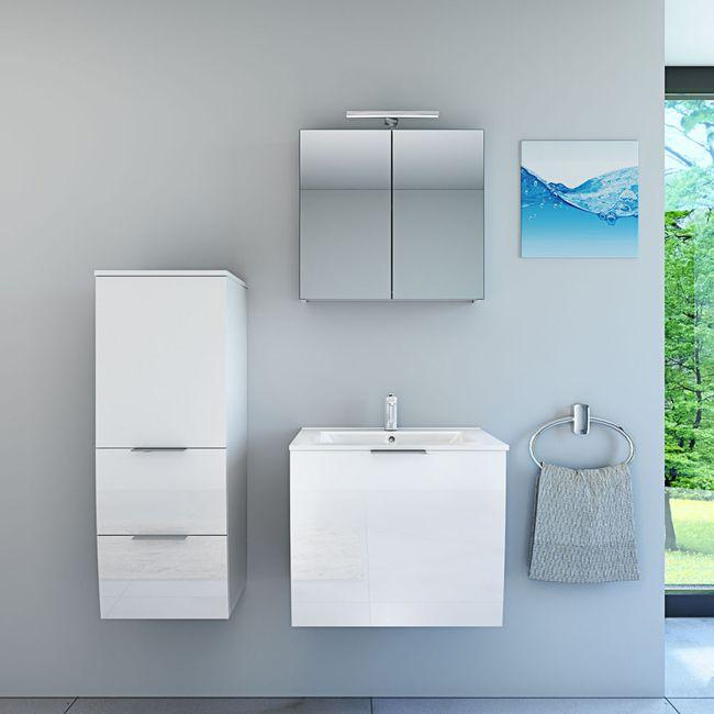 Badmöbel Set Gently 1 V2-L Hochglanz weiß, Badezimmermöbel, Waschtisch 60cm – Bild 2
