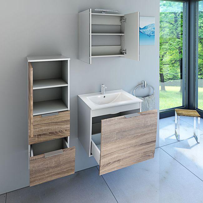Badmöbel Set Gently 1 V2-L weiß / Eiche hell, Badezimmermöbel, Waschtisch 60cm – Bild 3