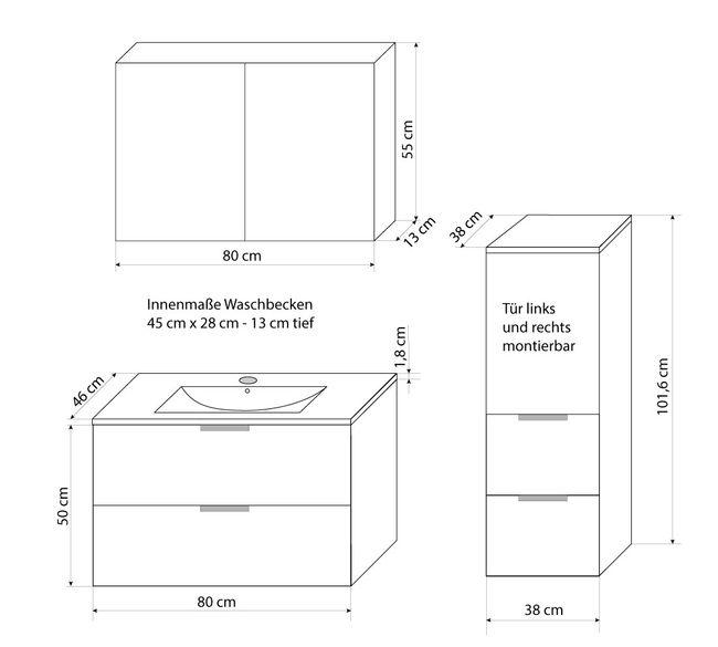 Badmöbel Set Gently 2 V2-L weiß / Eiche hell, Badezimmermöbel, Waschtisch 80cm – Bild 5