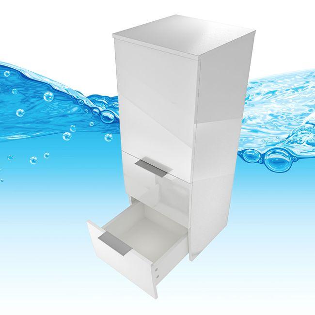 Badmöbel Set Gently 1 V2-R Hochglanz weiß, Badezimmermöbel, Waschtisch 60cm – Bild 14