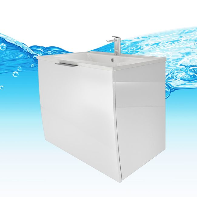Badmöbel Set Gently 1 V2-R Hochglanz weiß, Badezimmermöbel, Waschtisch 60cm – Bild 9