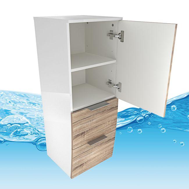 Badmöbel Set Gently 1 V2-R weiß / Eiche hell, Badezimmermöbel, Waschtisch 60cm – Bild 15