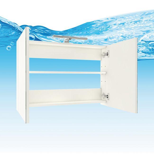 Badmöbel Set Gently 1 V2-R weiß / Eiche hell, Badezimmermöbel, Waschtisch 80cm – Bild 7