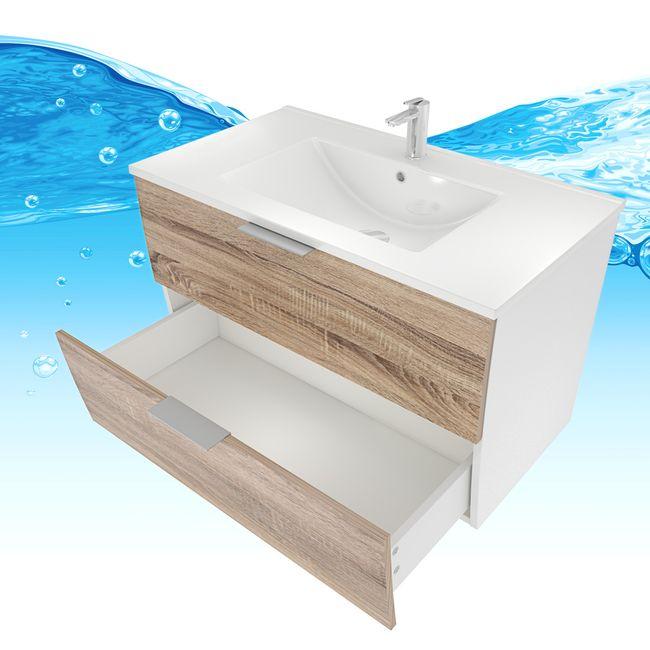 Badmöbel Set Gently 2 V2-R weiß / Eiche hell, Badezimmermöbel, Waschtisch 80cm – Bild 12