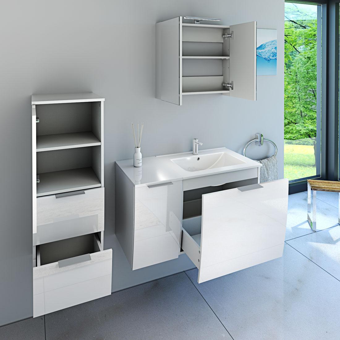 badm bel set gently 1 v3 l hochglanz wei badezimmerm bel waschtisch 60cm. Black Bedroom Furniture Sets. Home Design Ideas