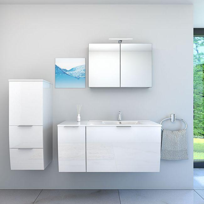 Badmöbel Set Gently 1 V3-L Hochglanz weiß, Badezimmermöbel, Waschtisch 80cm – Bild 1